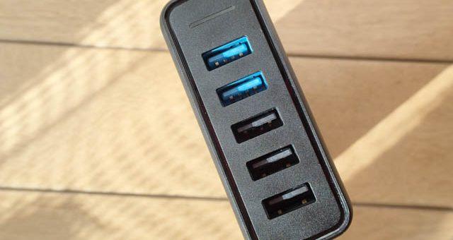 Anker PowerPort Speed 5 (QC3.0 2ポート搭載、63W 5ポート USB急速充電器)
